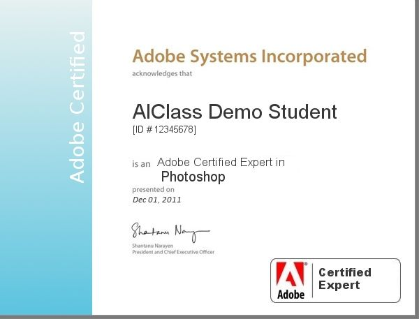 Adobe Certified Expert in Photoshop -certificate template-psd-doc-editable