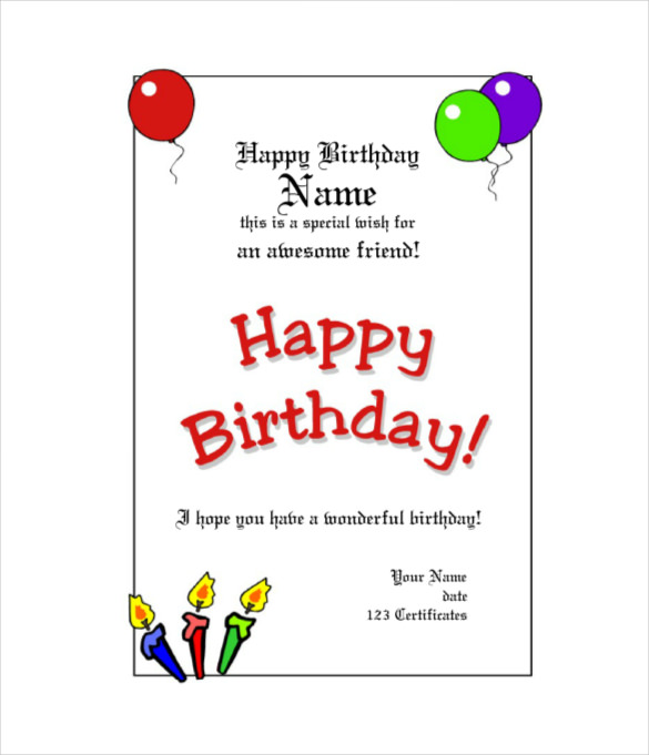 Sample Images Birthday Gift Certificate