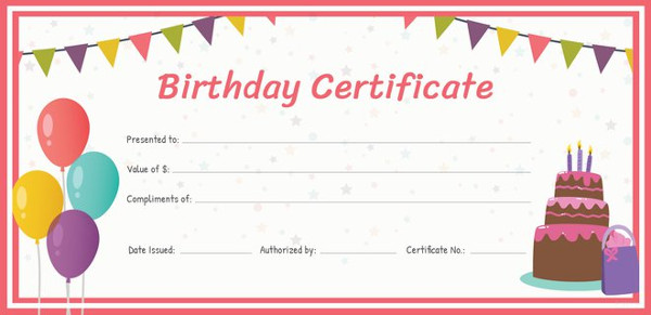 Birthday Gift Printable Format Birthday Gift Certificate Template
