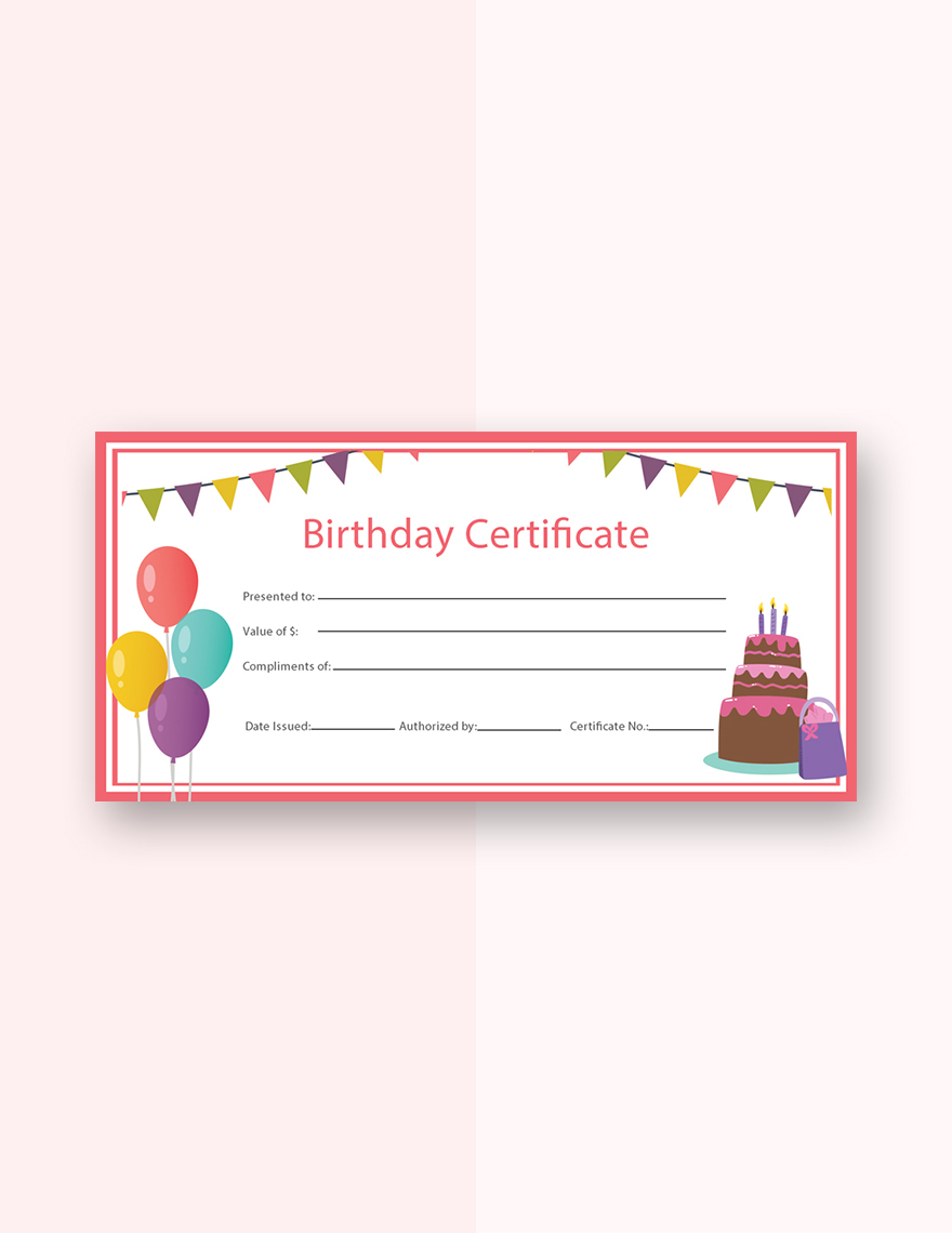 Birthday Gift Certificate Templatebirthday Template Downloadbirthday Freebirthday Free