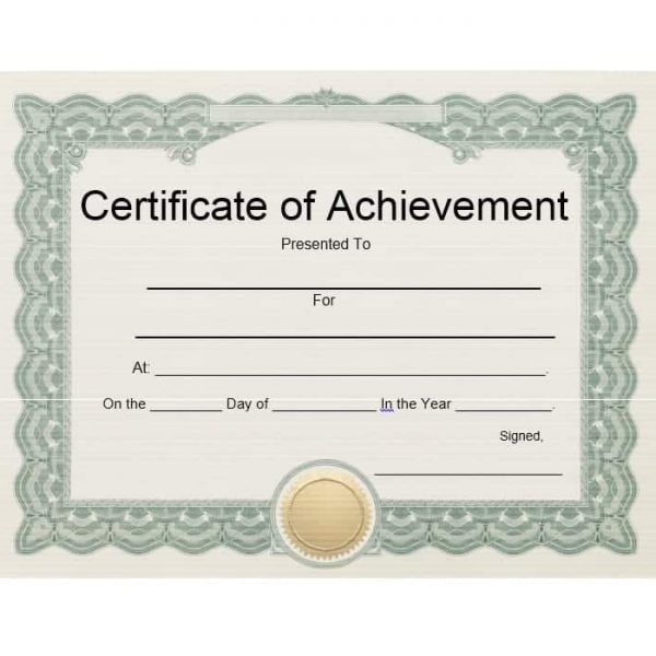 Ms Word Certificates Of Achievement Certificate Template Downloads
