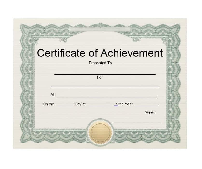 Certificate Of Achievement Template With Seal Download Editable Psd