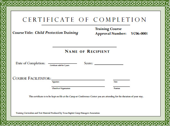 Class Completion Certificate Template from design-certificates.com