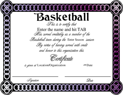 It's just an image of Printable Basketball Certificates pertaining to editable